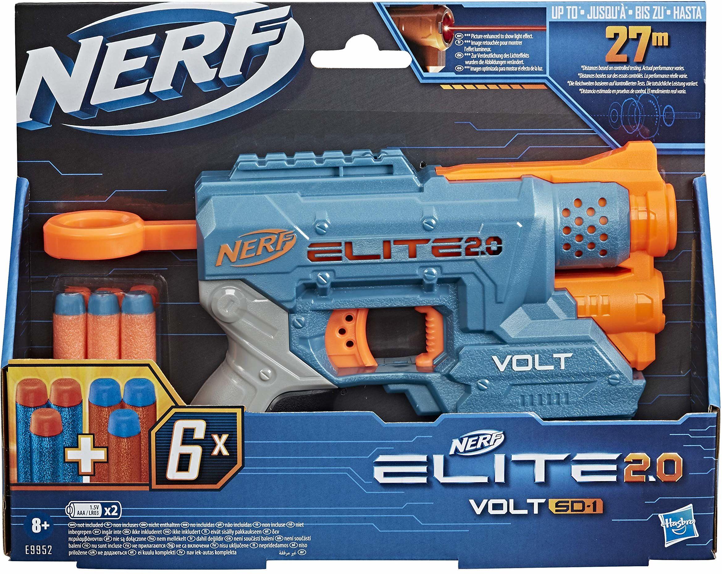NERF Elite 2.0 Volt SD-1 Wyrzutnia - 6 oryginalnych strzałek NERF, celowanie przy pomocy wiązki światła, miejsce na 2 strzałki, 2 szyny na akcesoria dające możliwość dostosowania do walki