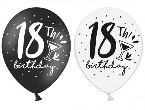 Balony na 18 urodziny 18th! birthday, 6 szt.