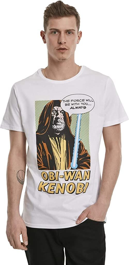 MERCHCODE Męska koszulka Obi-wan Kenobi biała koszulka Czarny L