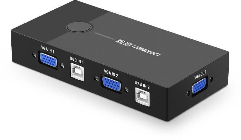 Przełącznik switch KVM UGREEN 30357 2-portowy VGA (czarny)