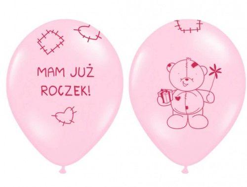 Balony na Roczek Miś, różowe 6 szt.