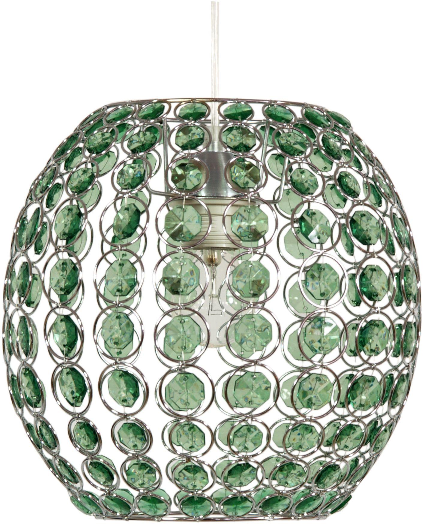Candellux RICA 31-02556 lampa wisząca zielona abażur z kryształkami 1X40W E27 28 cm
