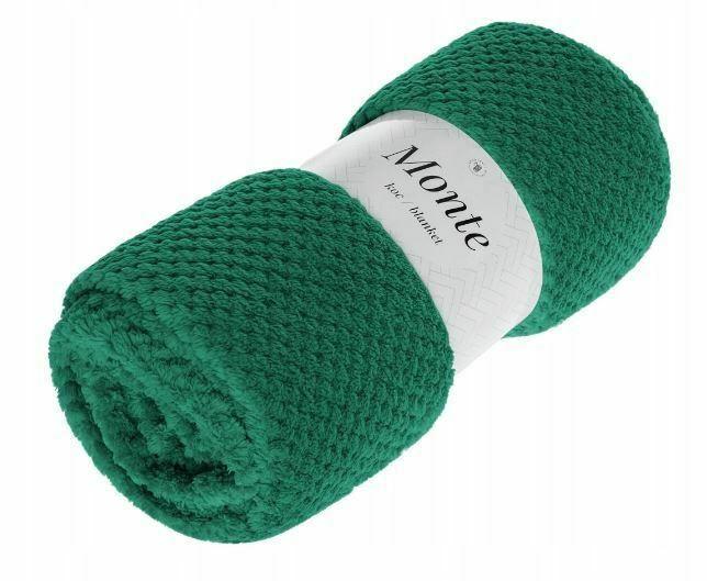 Koc narzuta z mikrofibry 200x220 Monte zielony butelkowy