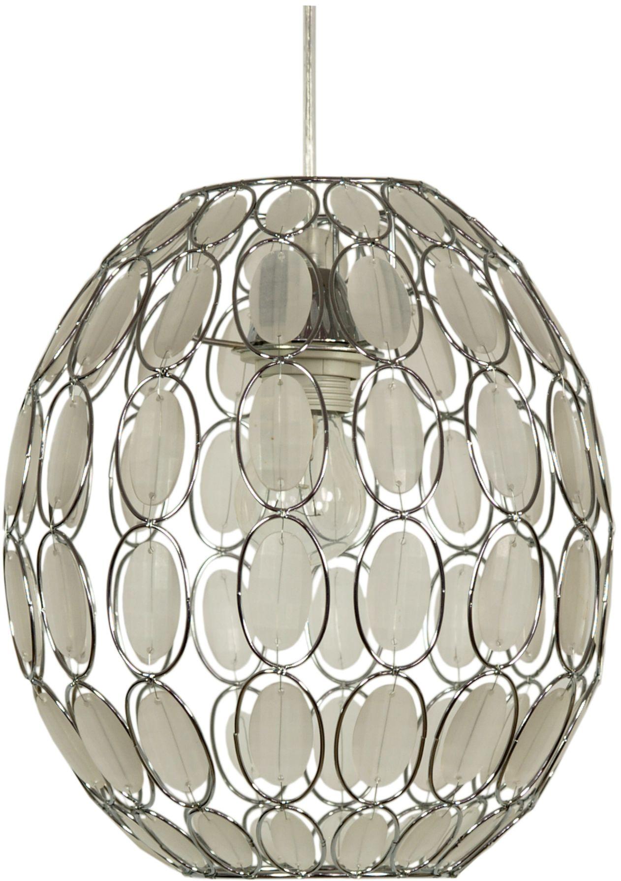 Candellux SELMA 31-02853 lampa wisząca klosz kryształki biała 1X40W E27 25 cm