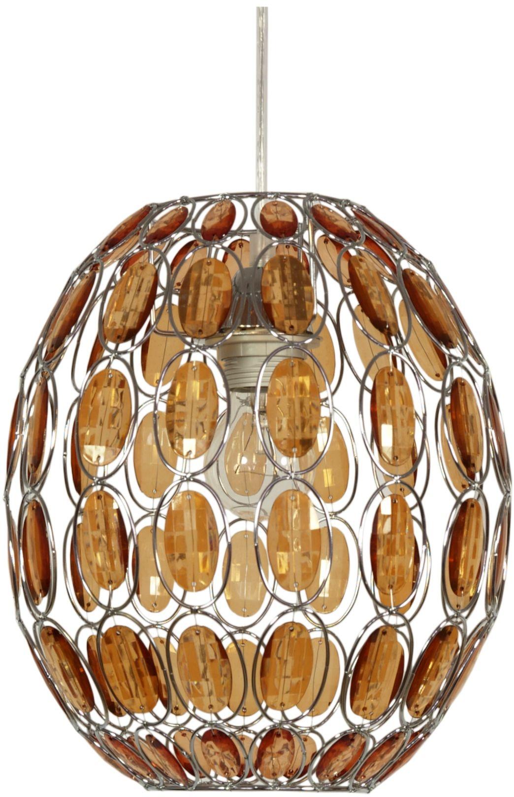 Candellux SELMA 31-02860 lampa wisząca klosz kryształki pomarańczowa 1X40W E27 25 cm