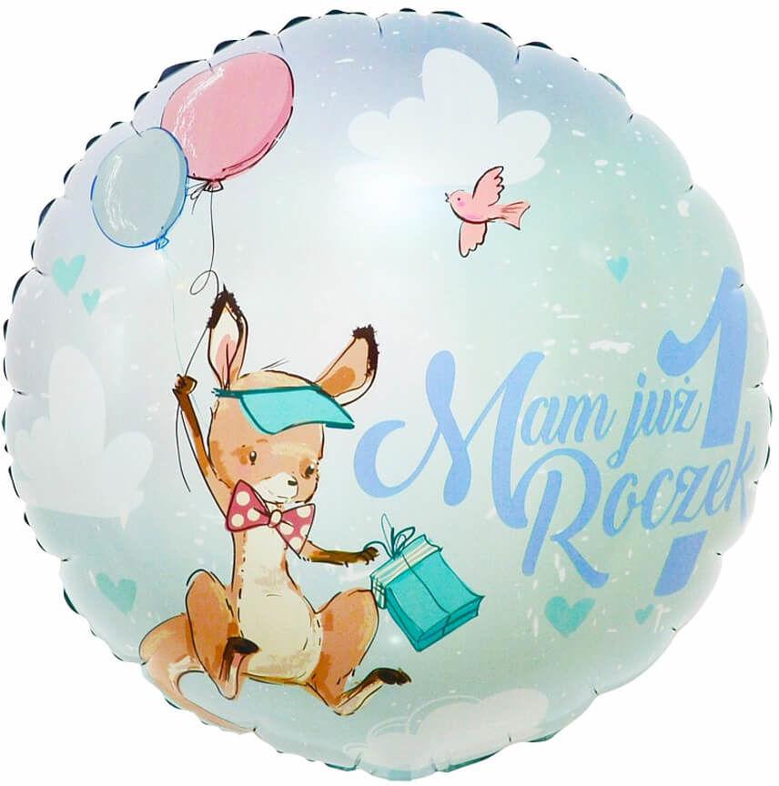 Balon foliowy błękitny Mam już roczek z kangurkiem - 46 cm - 1 szt.