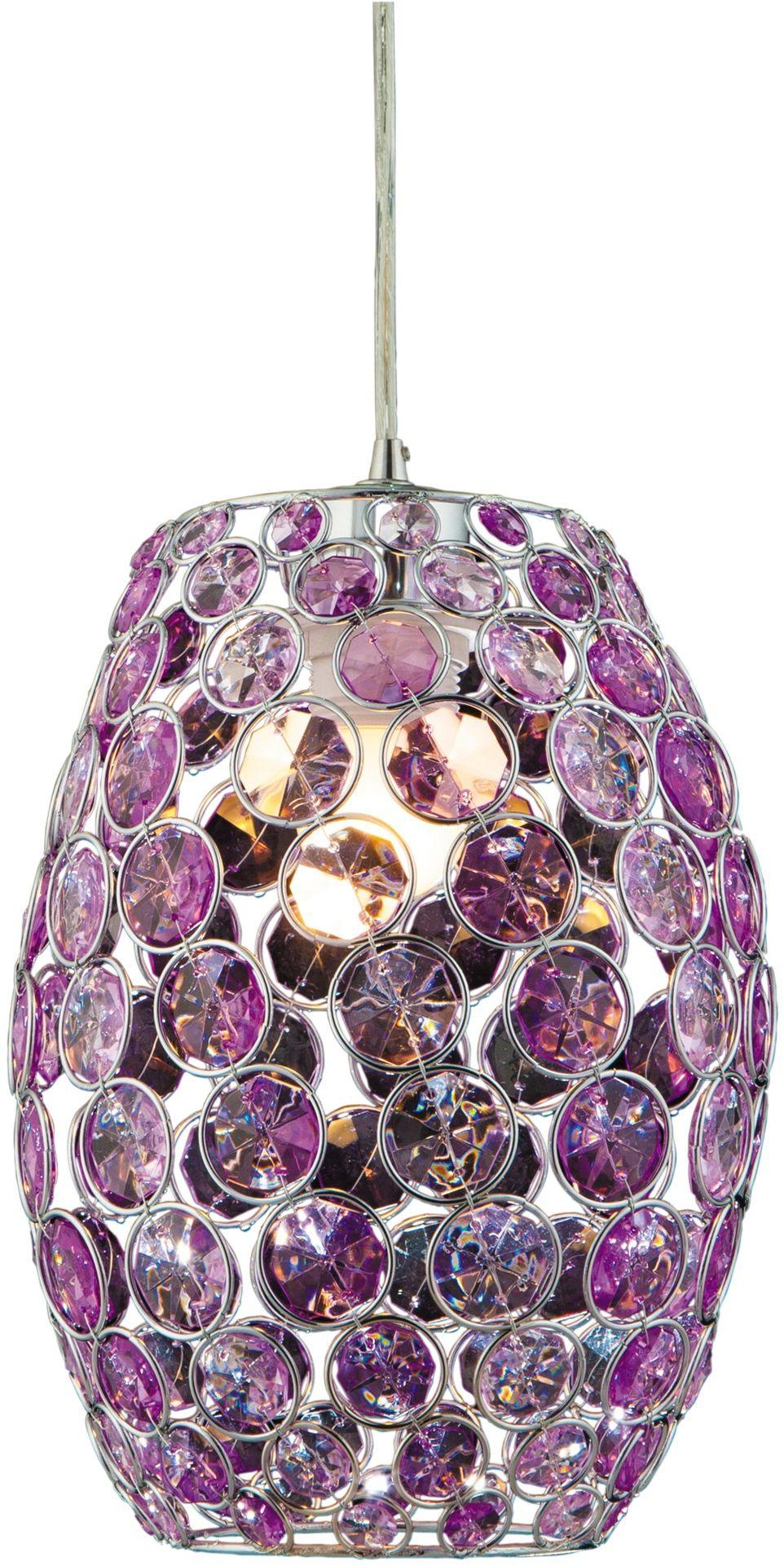 Candellux CORN 31-92536 lampa wisząca fioletowa klosz z kryształkami 1X60W E27 20 cm