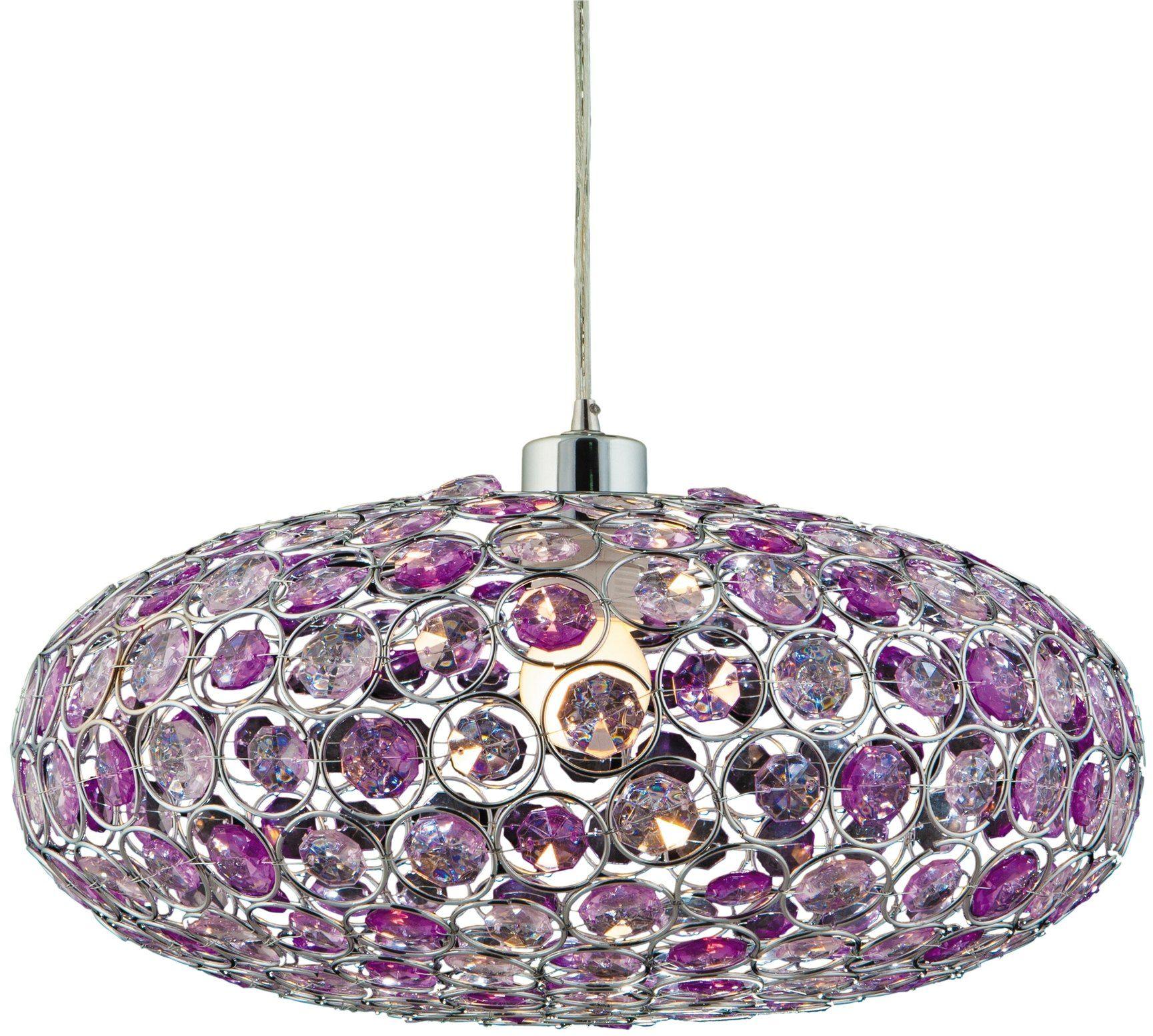 Candellux CRISTY 31-92635 lampa wisząca fiolet klosz metal z kryształkami 1X60W E27 38 cm