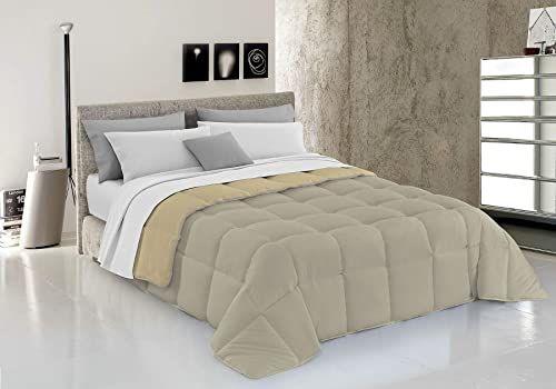 Italian Bed Linen Kołdra pikowana zimowa, elegancka, z mikrofibry, gołębi, kolor szary/kremowy, 220 x 260 cm