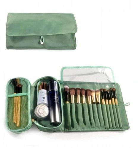 Kosmetyczka VEGAS organizer na pędzle do makijażu zielony
