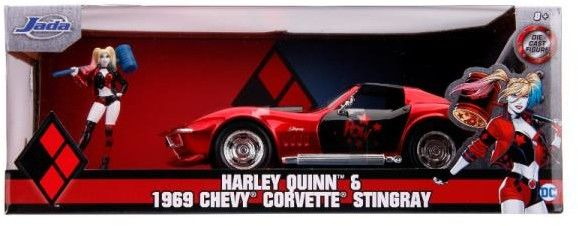 Jada DC Comics 1969 Chevy Corvette Stingray i figurka Harley Quinn 3255019