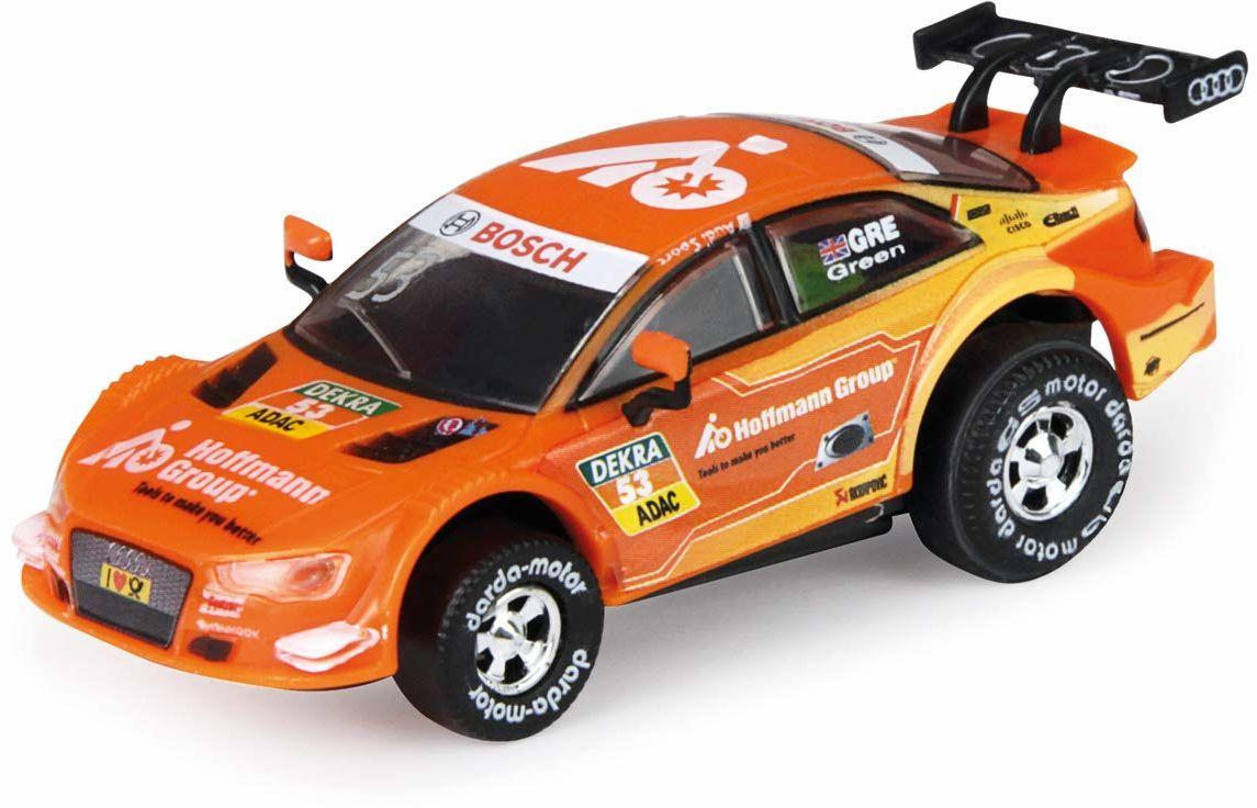 Darda 50393 Auto Audi RS5 DTM Green, samochód wyścigowy z wymiennym silnikiem cofania, pojazd z silnikiem ciągnącym dla dzieci od 5 lat, kolor pomarańczowy