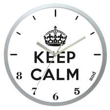 Zegar ścienny solid keep calm /srebrny