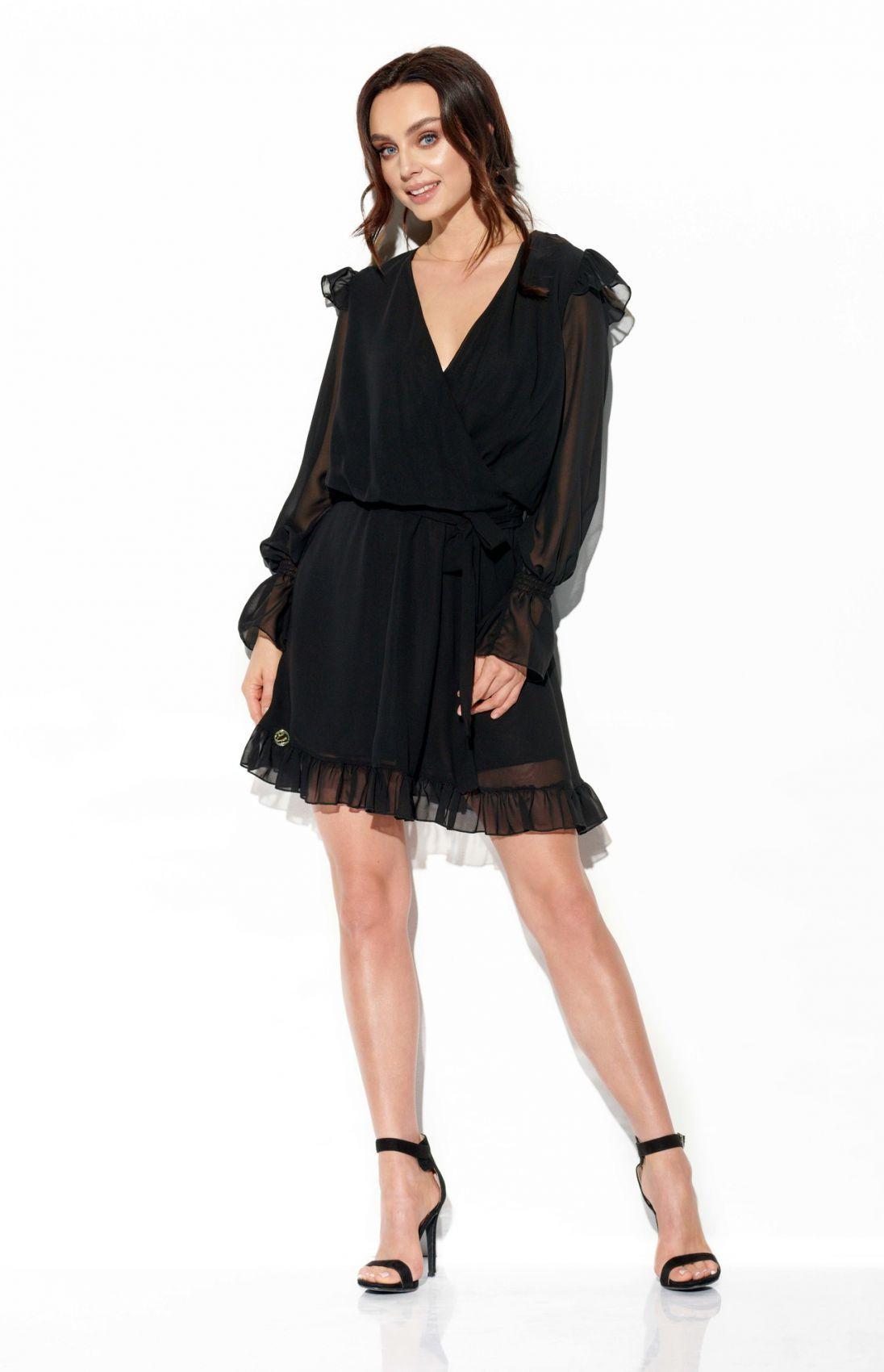 Szyfonowa sukienka z jedwabiem i kopertowym dekoltem kolor L324 czarny