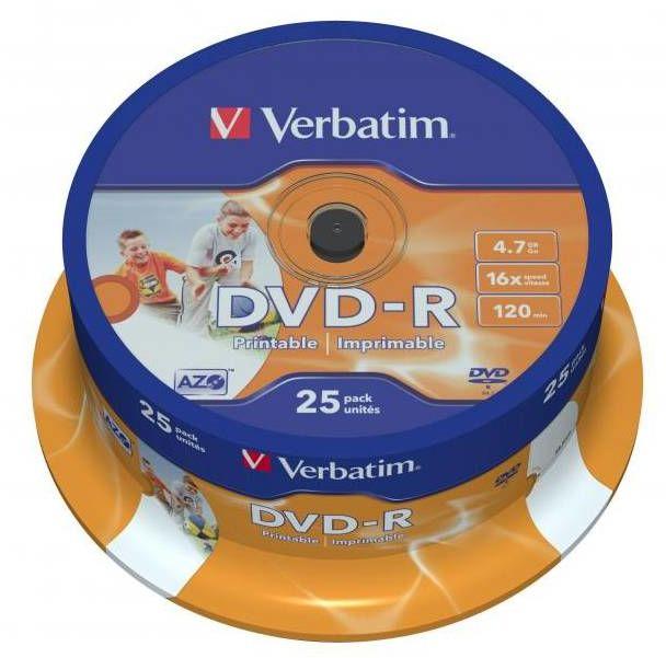 Płyty VERBATIM DVD-R 16x - 25-pack, do nadruku (43538)