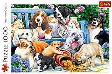 Puzzle TREFL 1000 - Psy w ogrodzie, Dogs in the garden