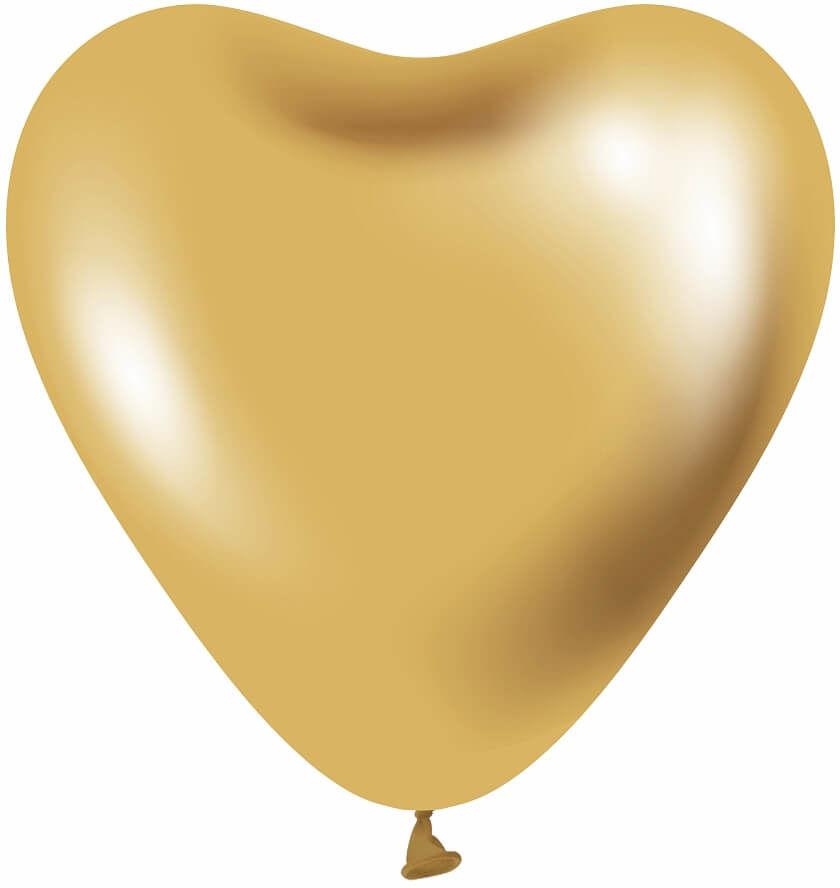 Balony lateksowe Serca platynowe złote - 30 cm - 6 szt.