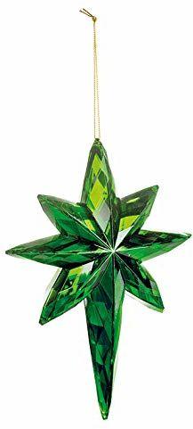 EUROCINSA Ref.28578 zawieszka w kształcie gwiazdy zielona 15 x 5 x 20 cm 6 sztuk, szkło, rozmiar uniwersalny