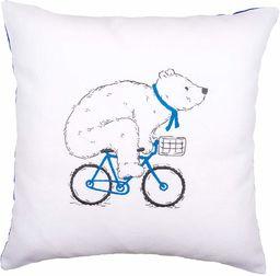 Vervaco poduszka do haftu: Miś rowerowy, czesana bawełna wielokolorowa, 40 x 15 x 20 cm