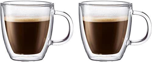 Bodum 10602-10 BISTRO zestaw kubków do espresso (dwuścianowe, można myć w zmywarce, 0,15 l/5 uncji) - opakowanie 2, przezroczyste