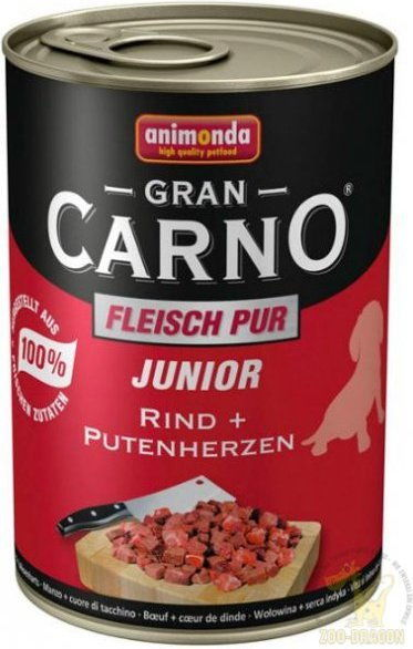 ANIMONDA Grancarno Junior smak: Wołowina + serca indyka 800g