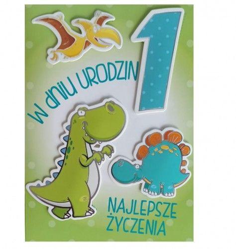 Karnet na Pierwsze urodziny Dinozaury, zielony, przestrzenny