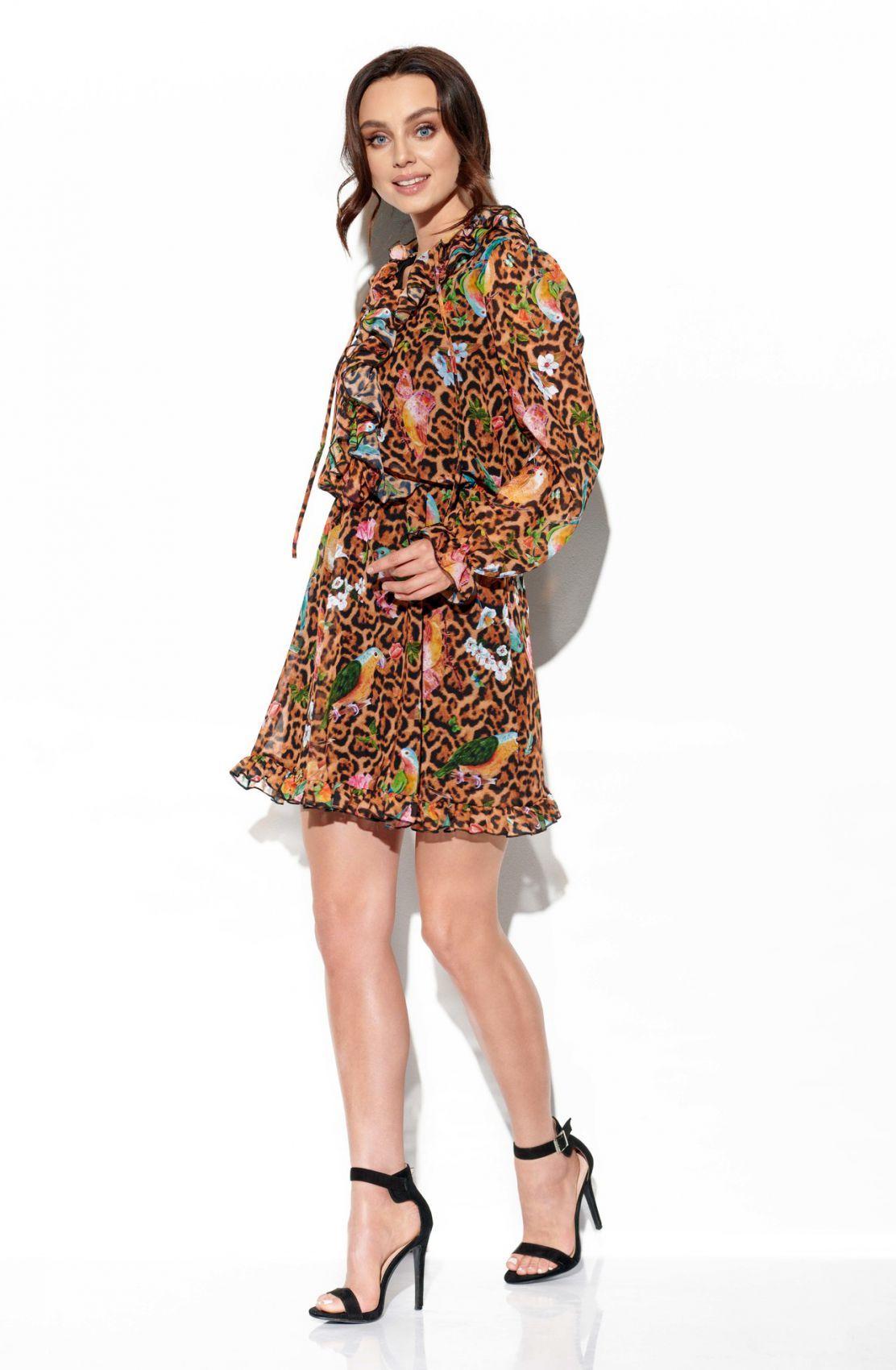 Szyfonowa sukienka z jedwabiem i żabotem wzór LG518 druk 13