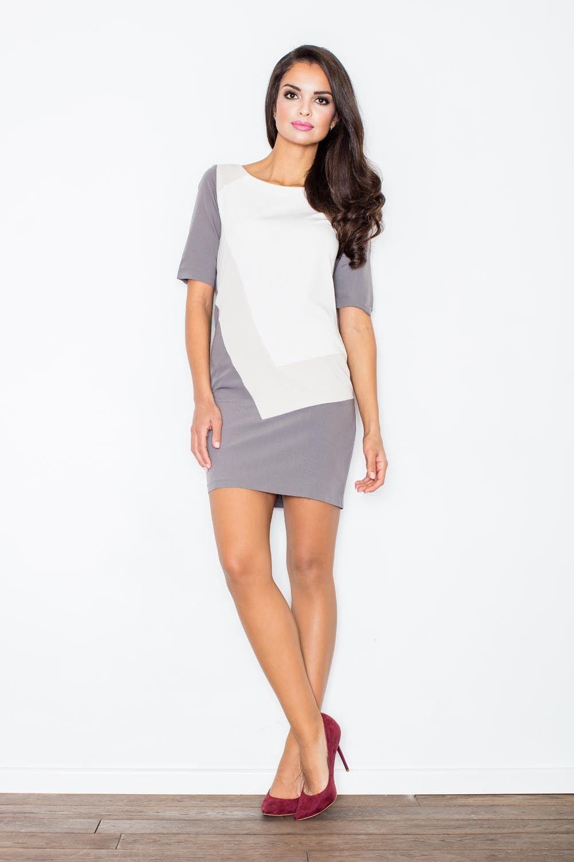 Beżowa sukienka mini z jasnymi panelami