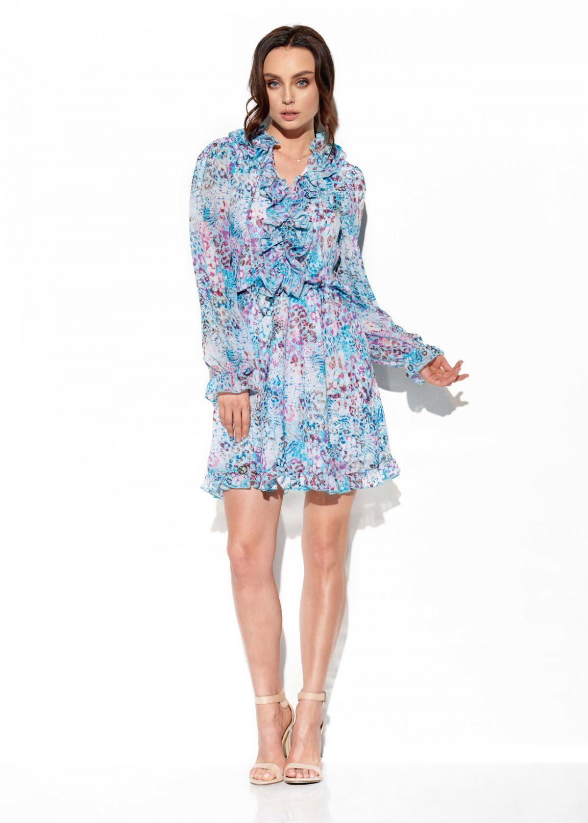 Szyfonowa sukienka z jedwabiem i żabotem wzór LG518 druk 14
