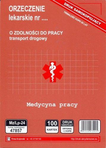 Orzeczenie lekarskie o zdolności do pracy - transport drogowy [Mz/Lp-24]