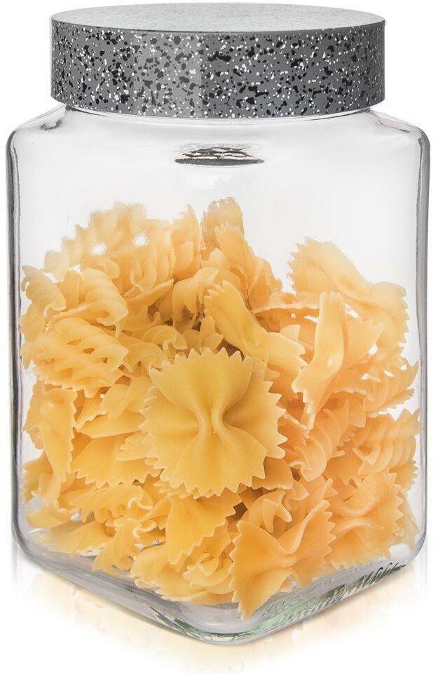 Pojemnik szklany kuchenny słój słoik kwadratowy 1,5 l granit na makaron płatki kawę produkty sypkie