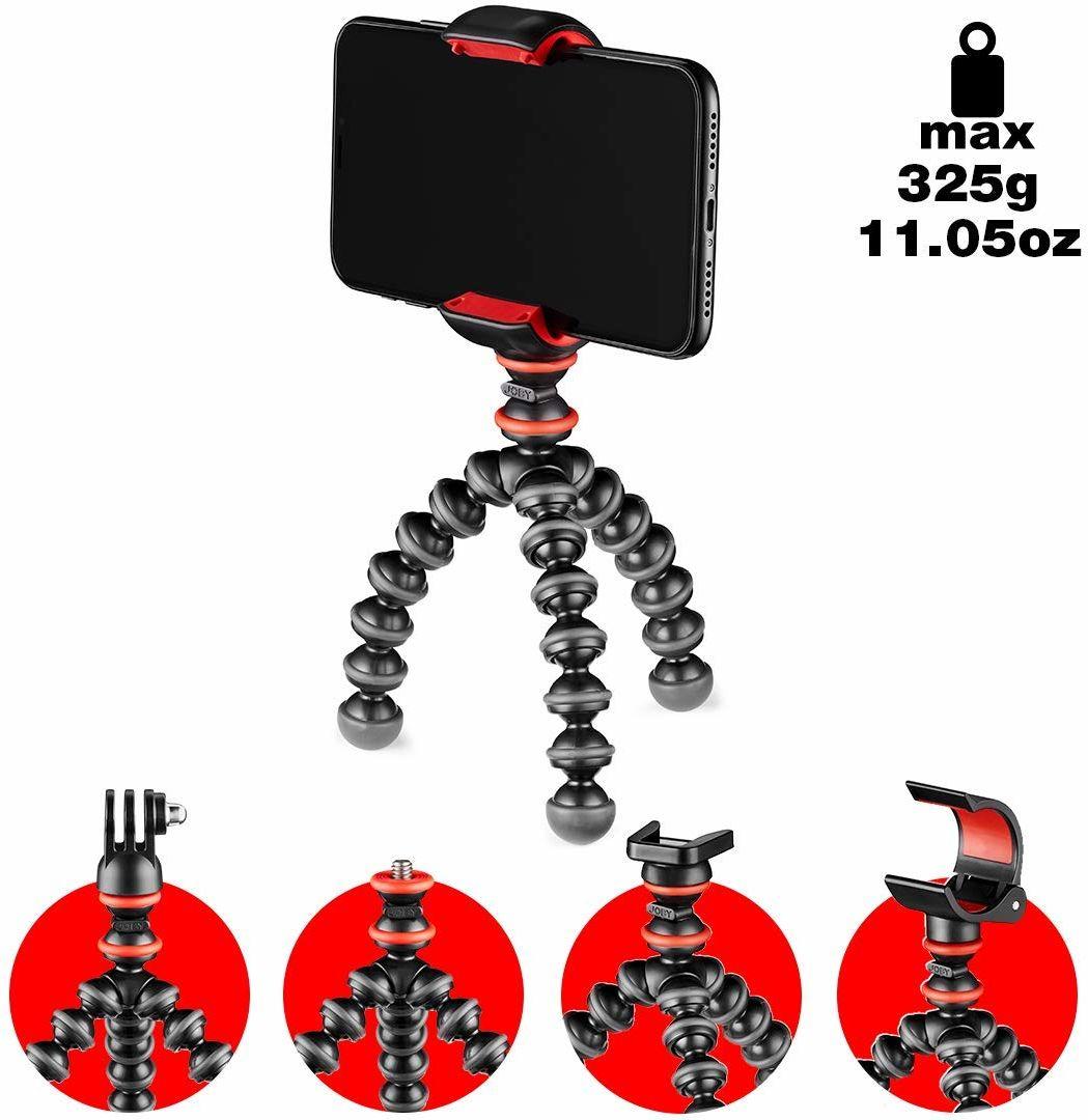 JOBY JB01571-BWW GorillaPod zestaw startowy, elastyczny mini statyw z uniwersalnym zaciskiem do smartfona, GoPro i uchwytem latarki do 325 g obciążenia użytkowego