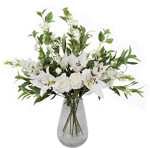 Wysokiej jakości sztuczny biały bukiet  13 szt. kompozycja kwiatowa z lilami, różami, delfinami, bzu i zieleni  idealny prezent na Boże Narodzenie