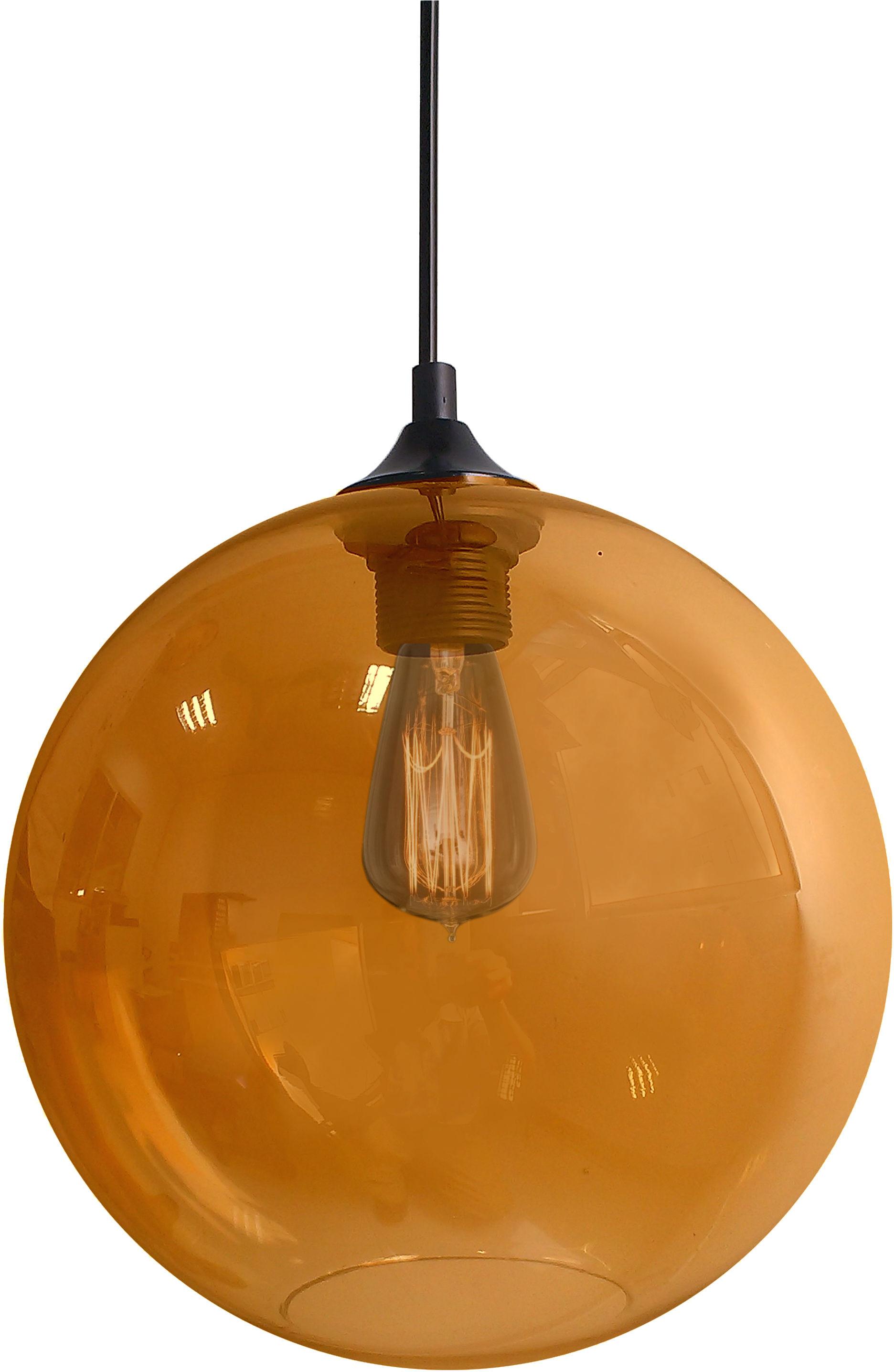 Candellux EDISON 31-21397 lampa wisząca szklany klosz barwiony bursztynowy 1X60W E27 25 cm