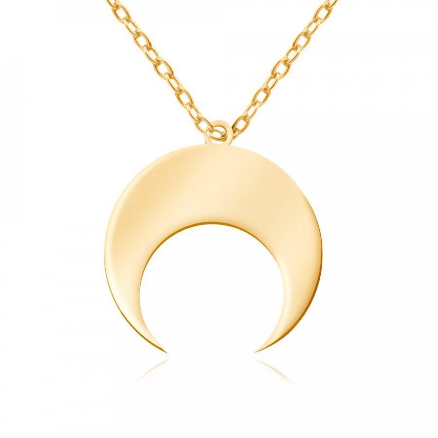 Srebrny Naszyjnik Złocony 925 Księżyc Grawer