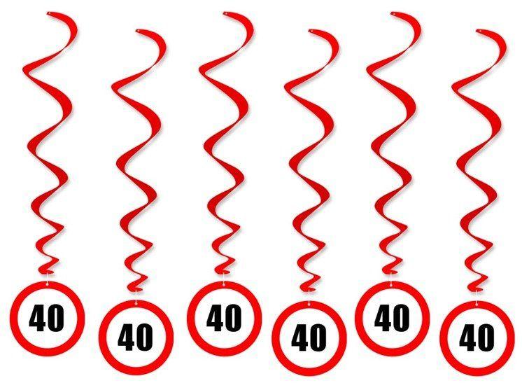 Dekoracja wisząca na 40 urodziny znak zakazu 6szt SWID-ZAK40