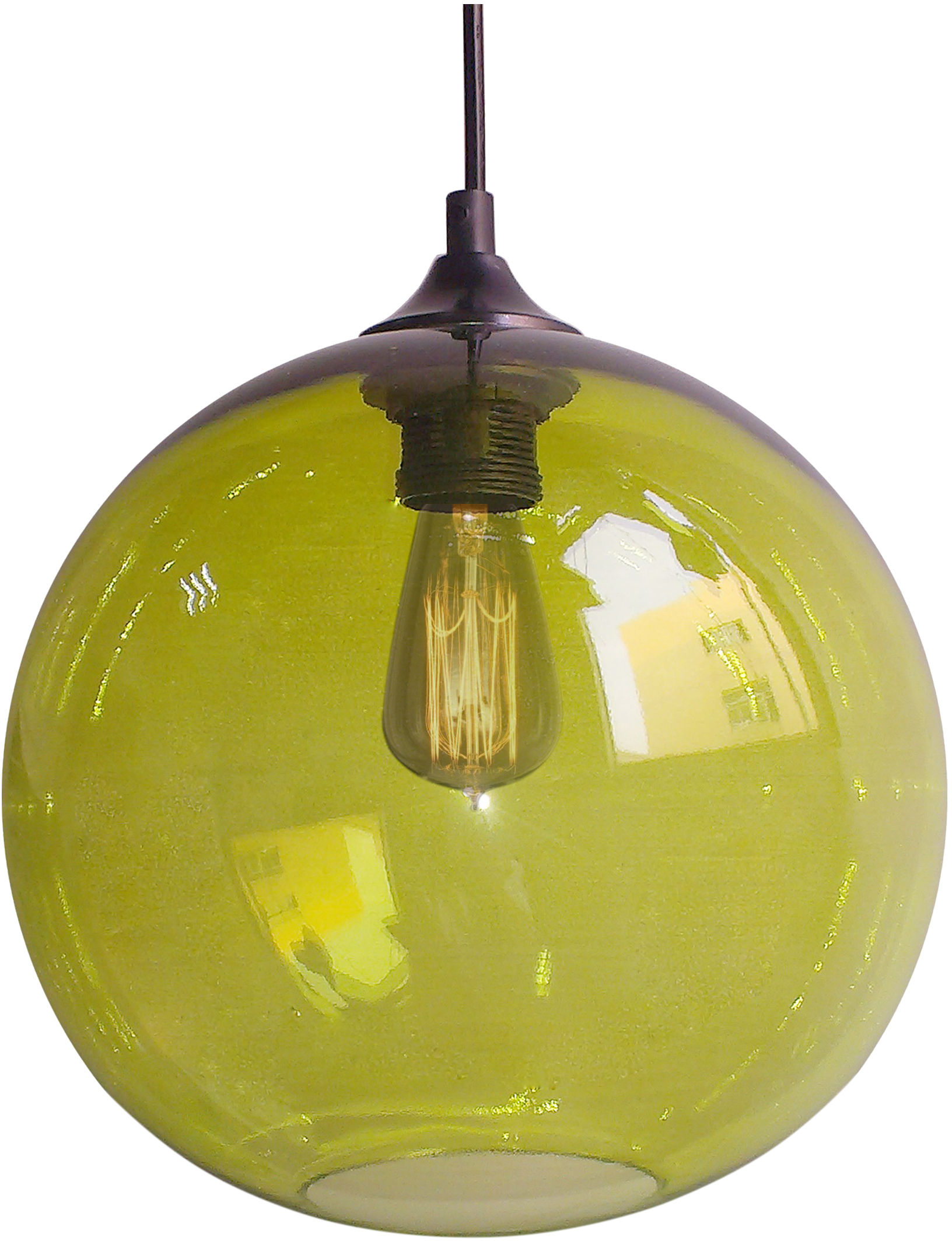 Candellux EDISON 31-29546 lampa wisząca zielona szklany klosz 1X60W E27 25cm