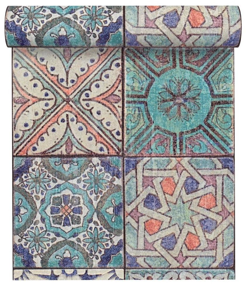 Tapeta mozaika do kuchni Wzory niebieska winylowa na flizelinie