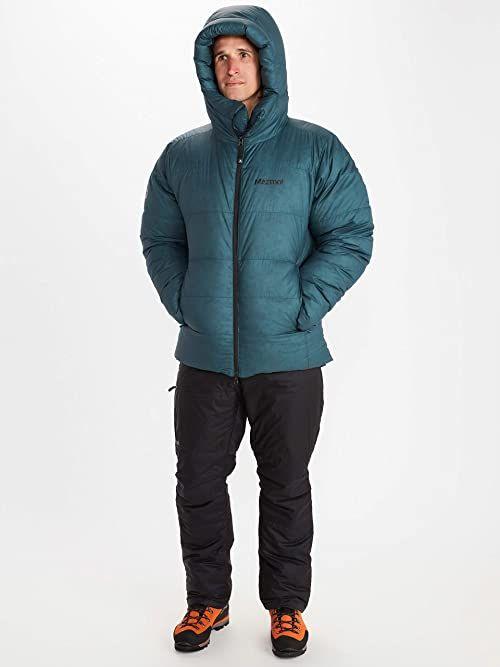 Marmot Tyndall bluza męska z kapturem, ciepła kurtka puchowa, izolowany płaszcz zimowy z kapturem, wiatroszczelna parka, kurtka pikowana, lekka kompaktowa kurtka wyprawowa niebieski Stargazer XL