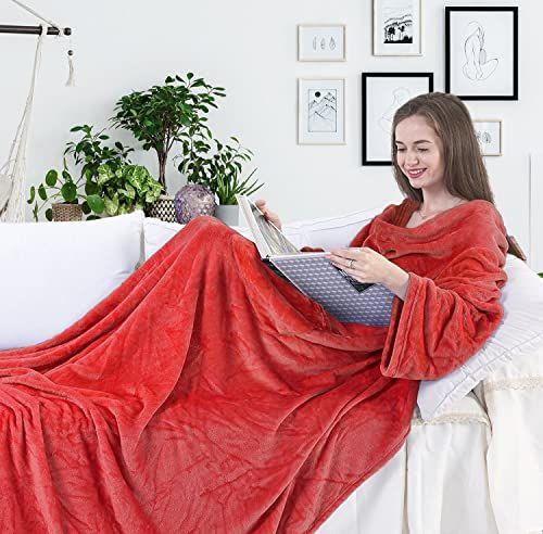 DecoKing koc z rękawami i kieszeniami 170 x 200 cm mikrofibra miękki ciepły czerwony Lazy