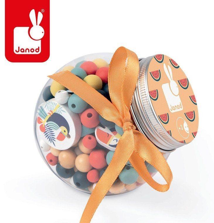 Zestaw do tworzenia biżuterii Drewniane koraliki Tukany J06669- Janod, gratka dla sześciolatka