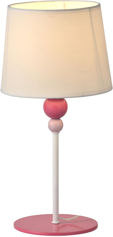 Candellux BEBE 41-38968 lampa stołowa abażur biały 1X60W E27 różowy 18cm