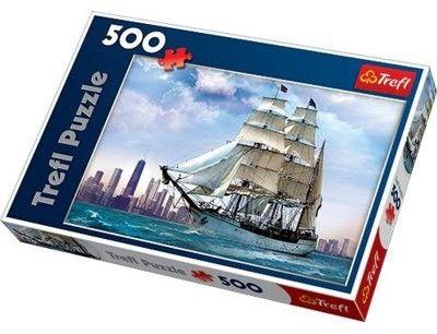 Puzzle TREFL 500 - Żaglowiec na tle Chicago, Sailing towards Chicago