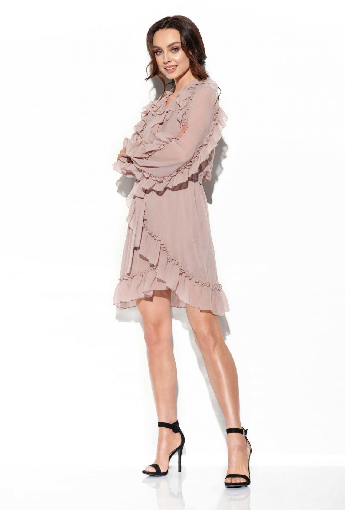 1 Sukienka z jedwabiem L326 capucino PROMO