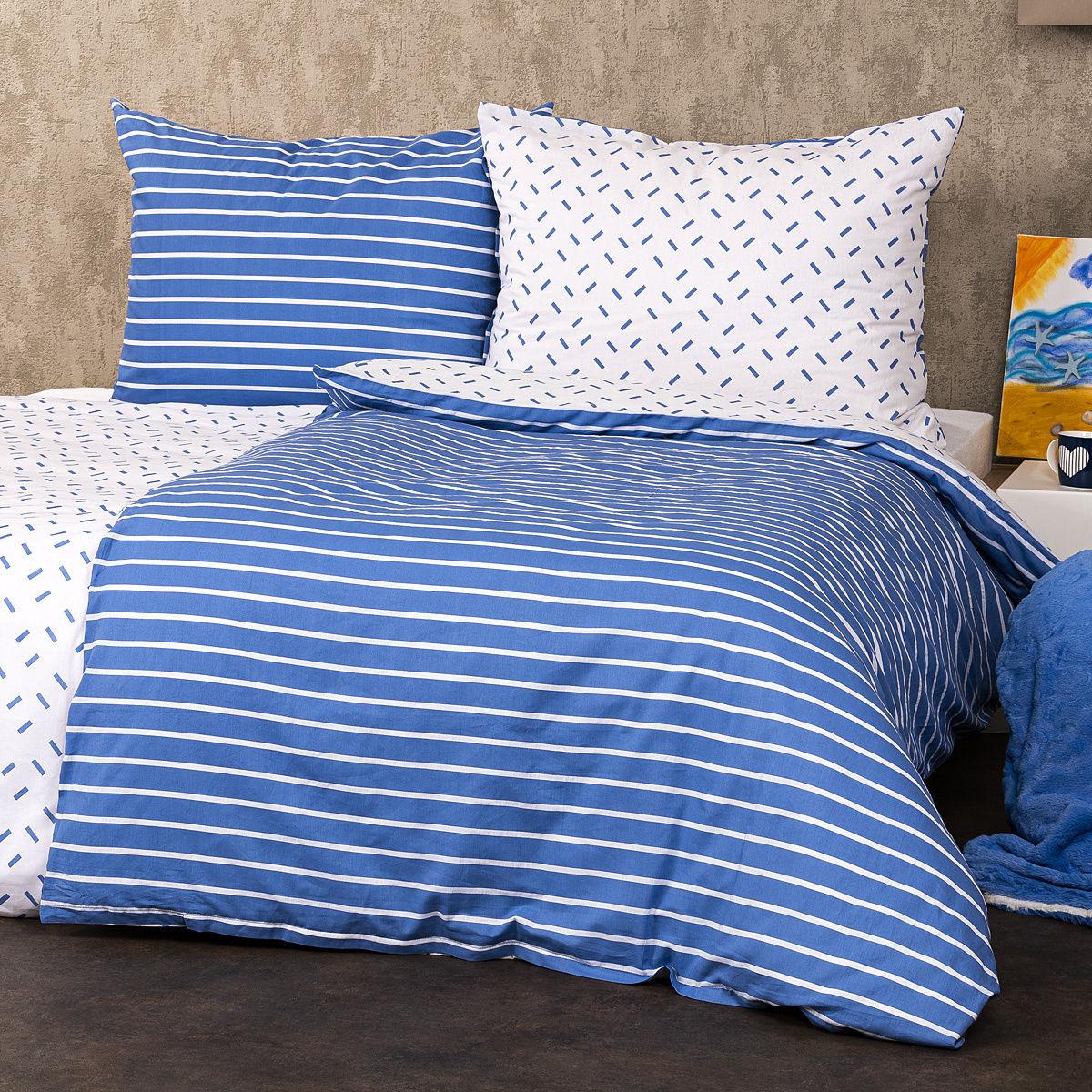 4Home Pościel bawełniana Paski niebieski, 140 x 200 cm, 70 x 90 cm