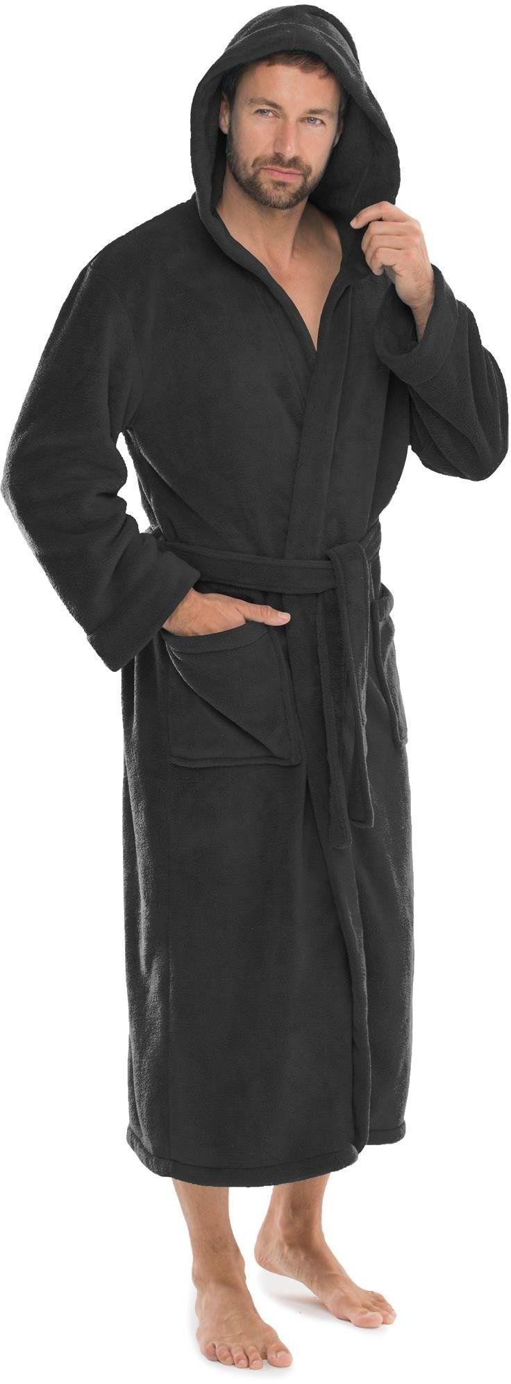 CelinaTex Florida damski szlafrok kąpielowy, rozmiar XXXL, czarny, szlafrok poranny, polar, szlafrok do sauny, z mikrofibry, kaptur unisex