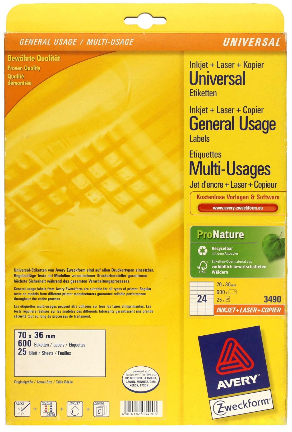 Etykiety uniwersalne 3x70x36 Zweckform 3490 (25)