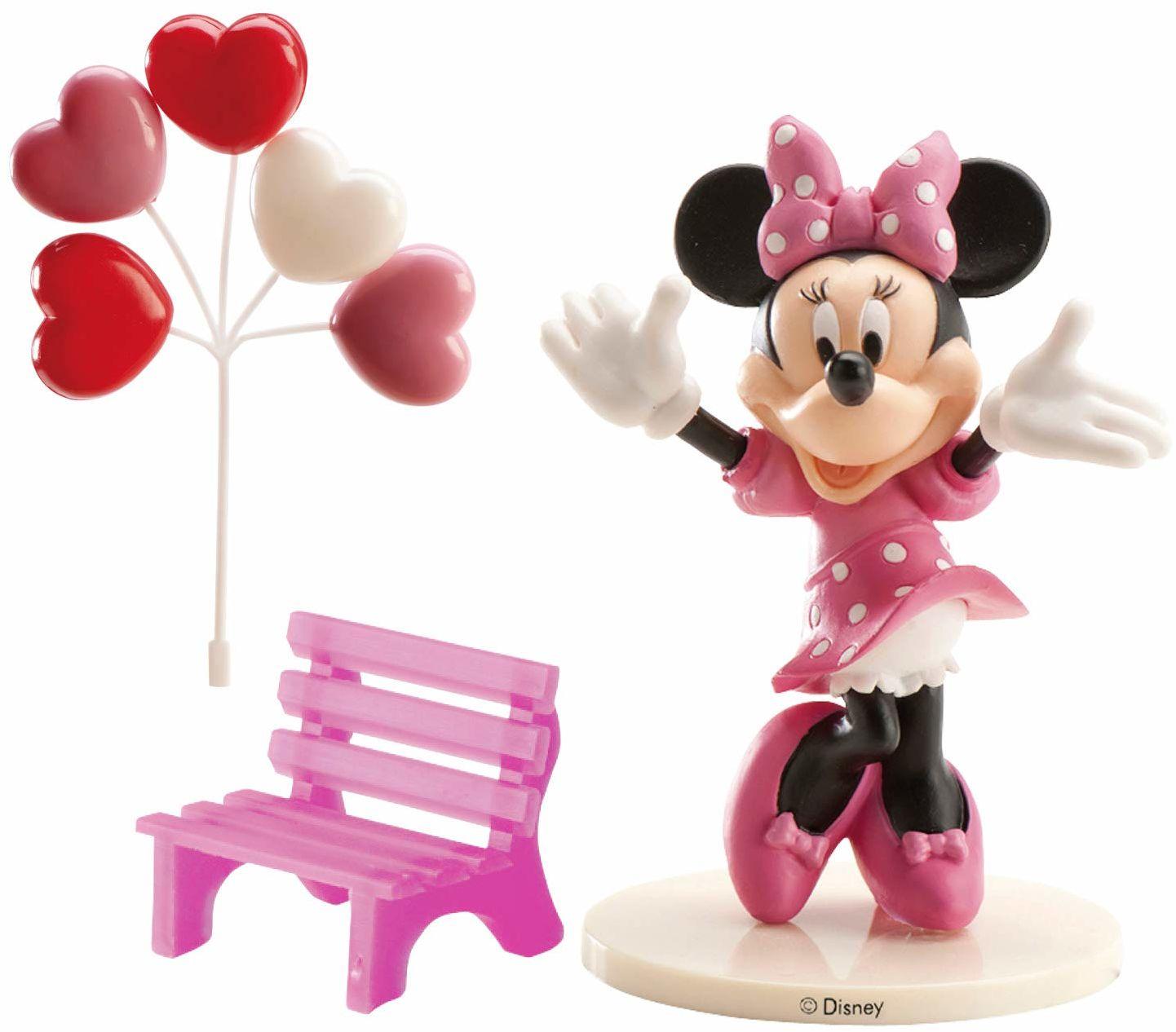 Dekora 302012 Minnie Mouse figurka na tort, tworzywo sztuczne, róża, 4 x 10 x 23 cm