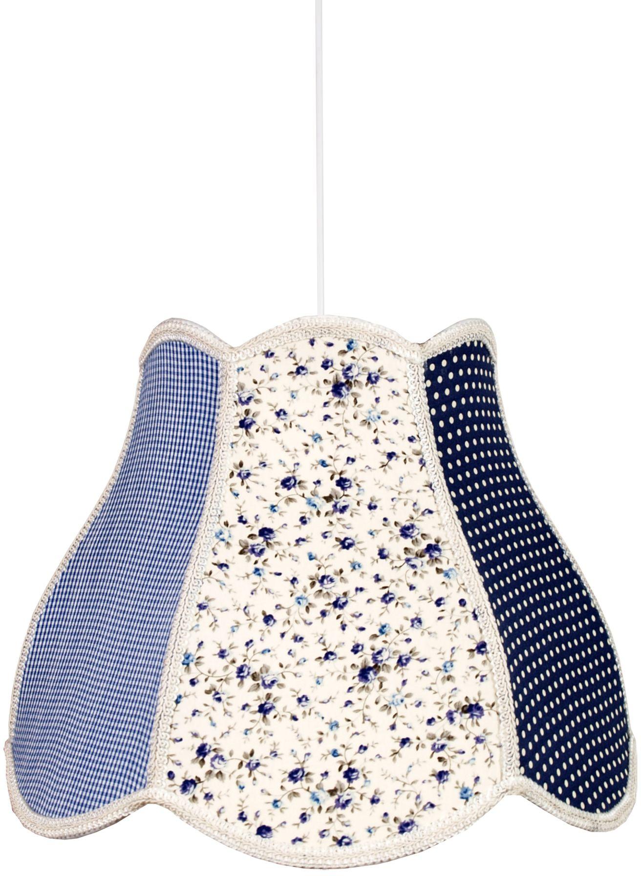 Candellux ZUZA 31-96954 lampa wisząca abażur z tkaniny szaro niebieskiej we wzory 1X60W E27 35 cm