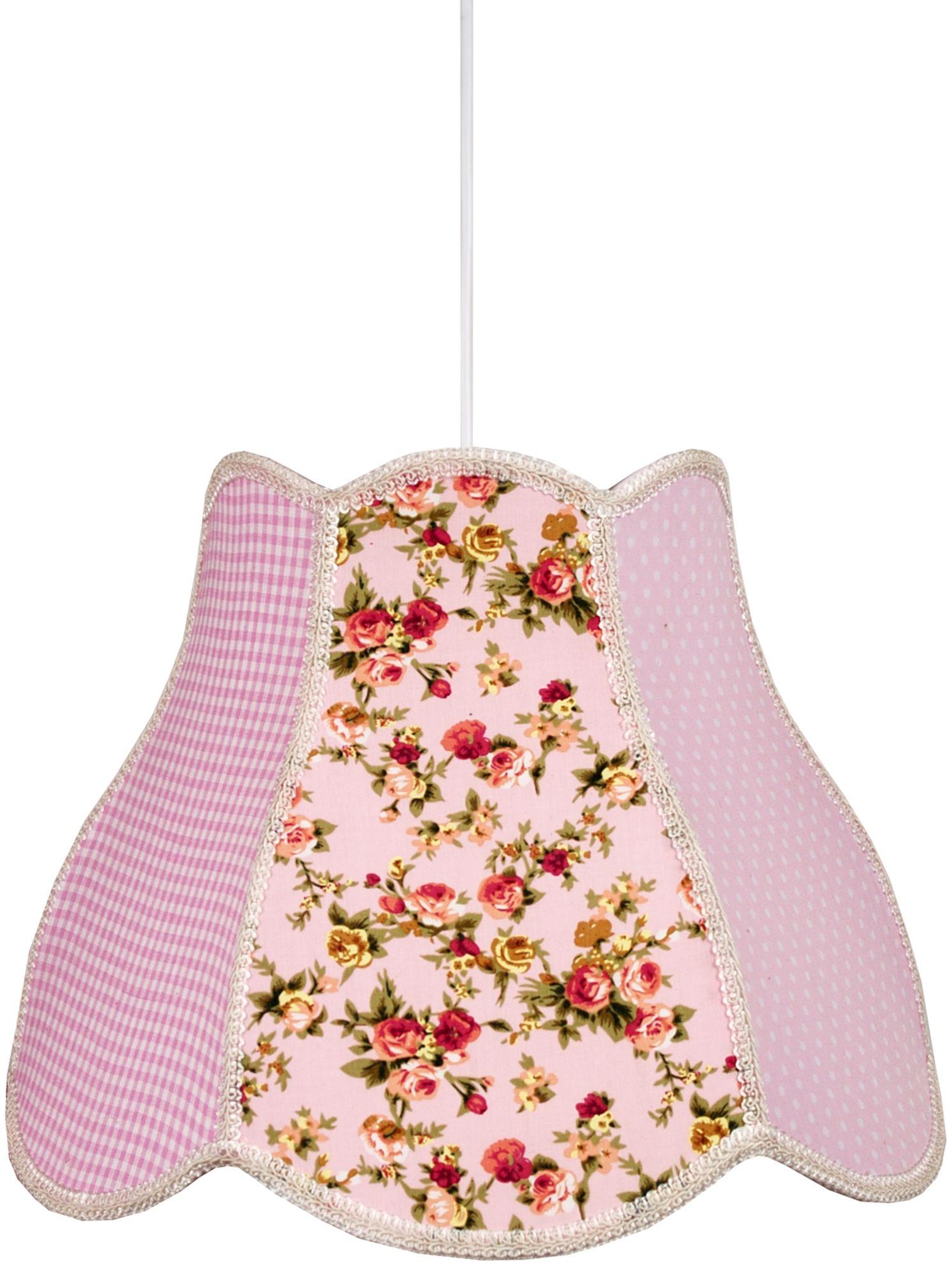Candellux ZUZA 31-96961 lampa wisząca abażur z tkaniny różowej we wzory 1X60W E27 35 cm